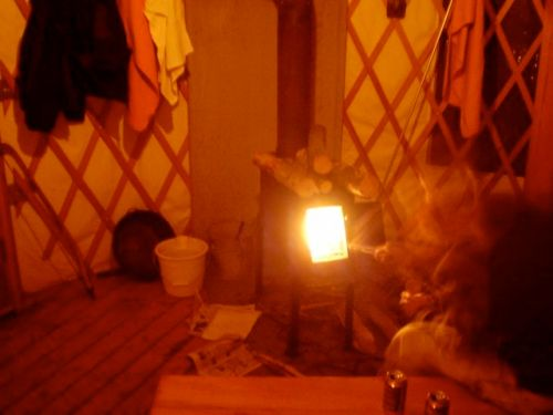 cranking up the heat inside the yurt